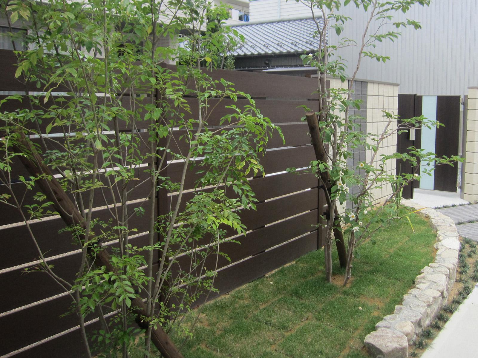 美しい木目のフェンスだから、植栽ともベストマッチ。